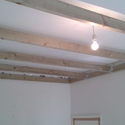 Independent Ceiling 1 with wood batten frame work